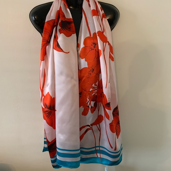 Ted Baker Long Silk Scarf Tropical Floral New